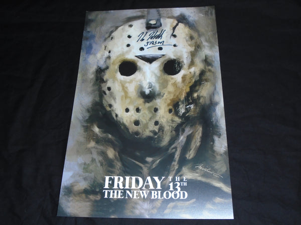 KANE HODDER Signed 11x17 New Blood Poster Jason Voorhees Friday 13th Part 7 B