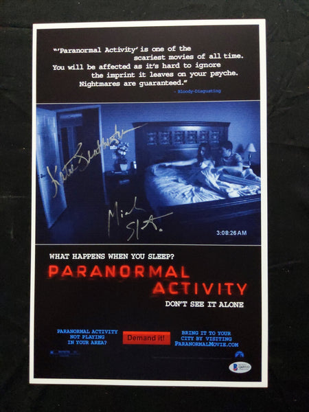 Katie Featherston & Micah Sloat Signed Paranormal Activity 11x17 Movie Poster BAS BECKETT COA - HorrorAutographs.com