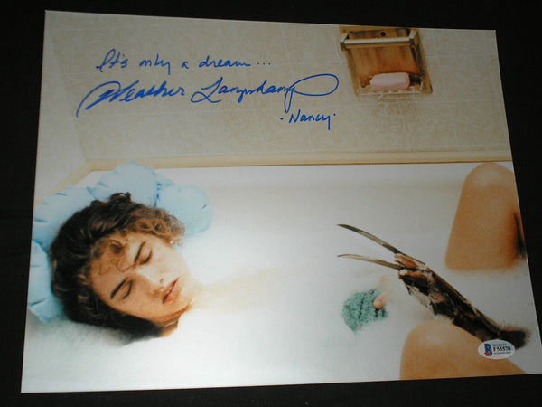 HEATHER LANGENKAMP Signed Nightmare on Elm Street 10x13 TUB Photo Nancy Autograph BECKETT BAS COA