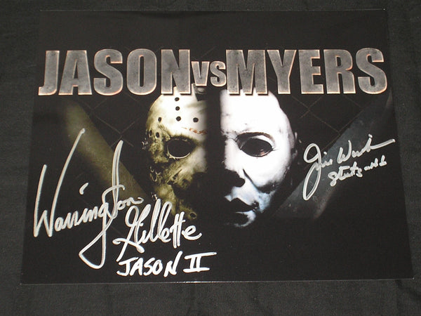 JIM WINBURN & WARRINGTON GILLETTE 2X Signed JasonVoorhees vs Michael Myers 8X10 Photo B - HorrorAutographs.com