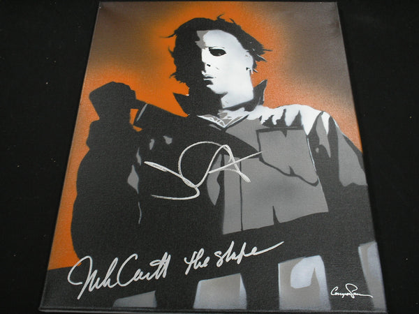 JOHN CARPENTER & NICK CASTLE Signed Halloween Original POP ART PAINTING Autograph Michael Myers The Shape RARE - HorrorAutographs.com