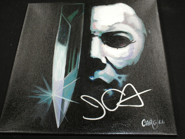 JOHN CARPENTER Signed Michael Myers ORIGINAL Art Painting Halloween Autograph RARE