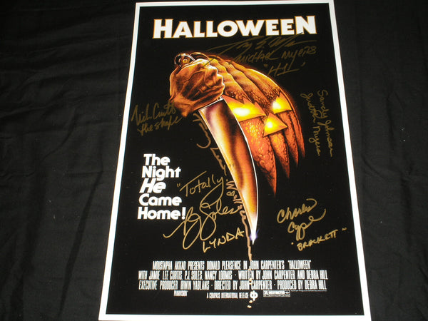 NICK CASTLE TONY MORAN PJ SOLES WALLACE CHYPERS & JOHNSON HALLOWEEN CAST 6X Signed 11x17 POSTER Autograph - HorrorAutographs.com