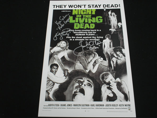 KYRA SCHON JUDITH O'DEA JUDITH RIDLEY 3X Signed Night of the Living Dead 11x17 Movie Poster Autograph