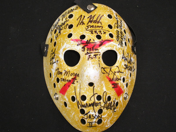 9X JASON VOORHEES Actors Cast Signed Hockey MASK Friday the 13th Kane Hodder + BECKETT COA