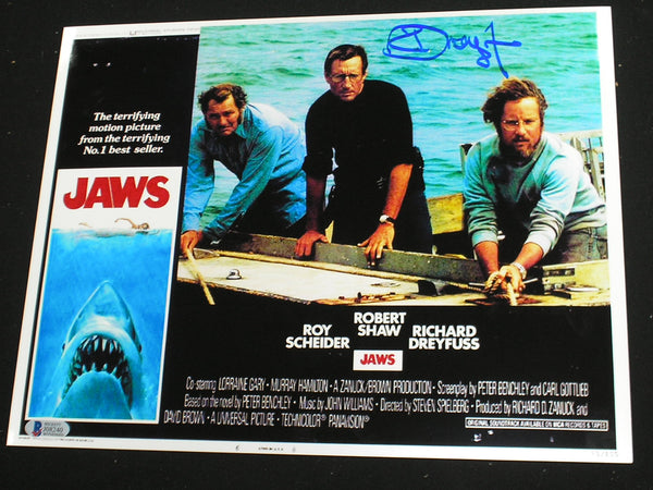 RICHARD DREYFUSS Signed JAWS 10x13 Metallic Photo Hooper Autograph Beckett BAS COA D