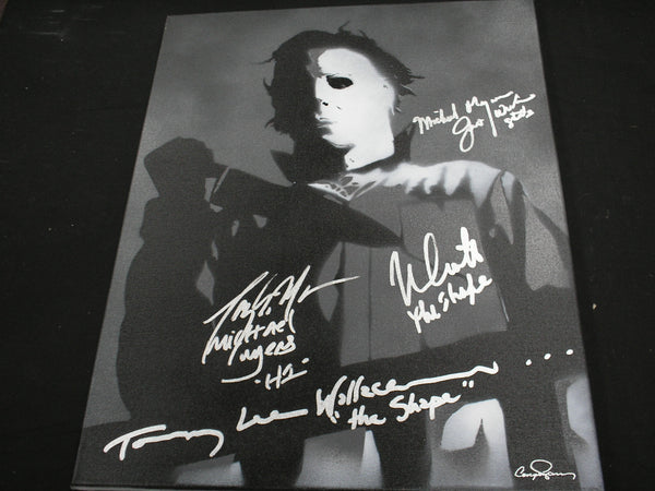 NICK CASTLE TONY MORAN JIM WINBURN & TOMMY LEE WALLACE 4X Signed Halloween Original POP ART PAINTING Autograph Michael Myers The Shape - HorrorAutographs.com