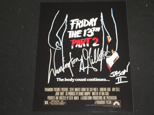 WARRINGTON GILLETTE Signed Jason Voorhees 8X10 Photo Autograph FRIDAY THE 13TH Part 2 J - HorrorAutographs.com