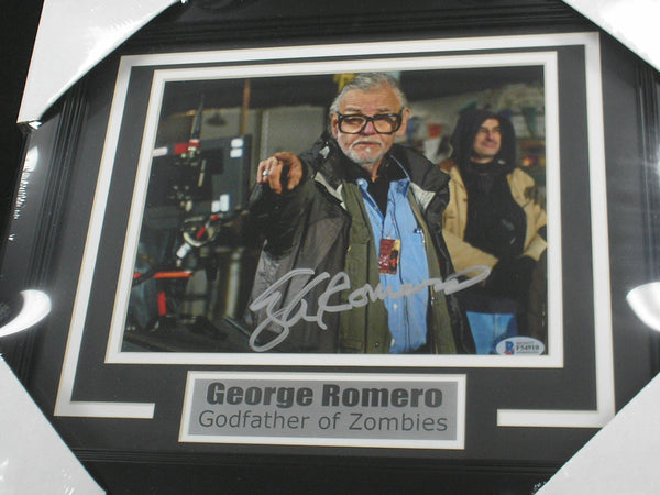 GEORGE ROMERO Signed 8x10 Photo FRAMED Zombie Movie Director Autograph BECKETT BAS COA A