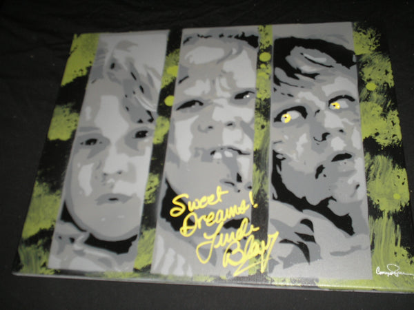 LINDA BLAIR Signed The EXORCIST Original POP ART PAINTING Autograph Regan (H) RARE