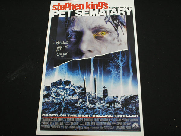 MIKO HUGHES Signed PET SEMATARY 11x17 Movie Poster Gage Autograph