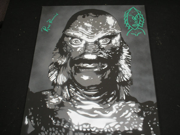 RICOU BROWNING Signed Creature from the Black Lagoon Original Painting w/sketch BAS BECKETT COA A - HorrorAutographs.com