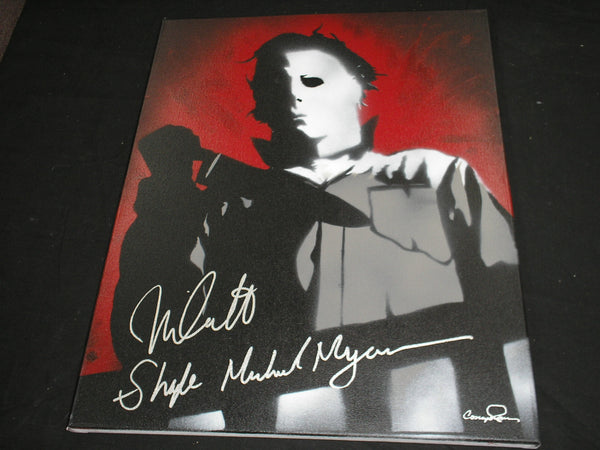 NICK CASTLE Signed Halloween Original POP ART PAINTING Autograph Red Michael Myers The Shape - HorrorAutographs.com