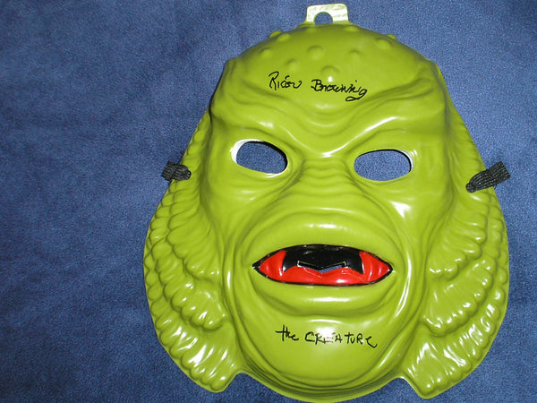 RICOU BROWNING Signed Creature from the Black Lagoon Vacuform MASK Autograph - HorrorAutographs.com