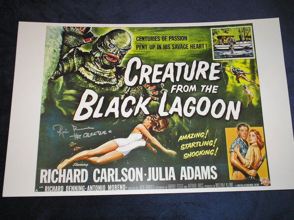RICOU BROWNING Signed Creature from the Black Lagoon 11x17 Movie Poster Autograph A - HorrorAutographs.com