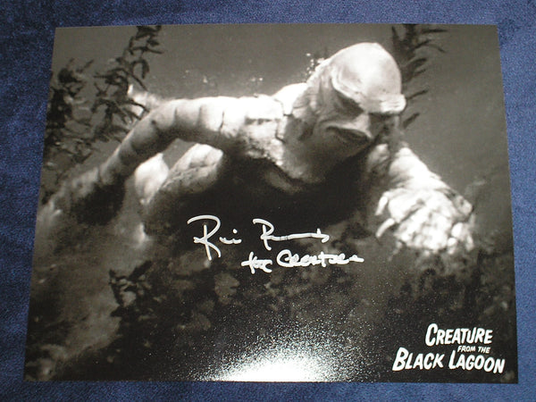 RICOU BROWNING Signed Creature from the Black Lagoon 8x10 Photo Universal Monsters Autograph C - HorrorAutographs.com