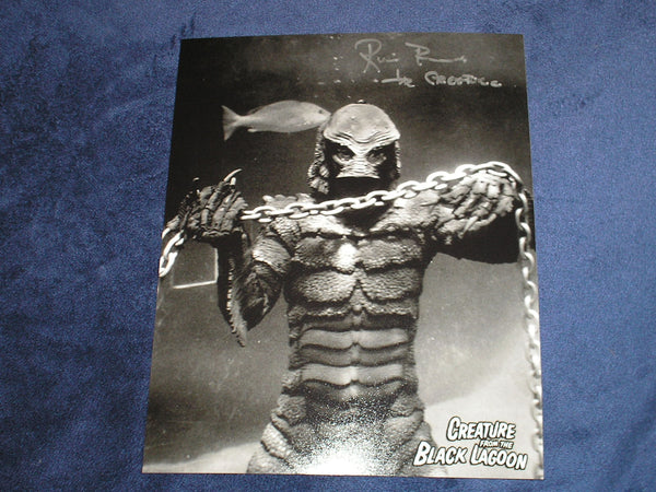 RICOU BROWNING Signed Creature from the Black Lagoon 8x10 Photo Universal Monsters Autograph D - HorrorAutographs.com