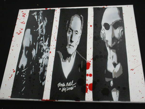 TOBIN BELL Signed SAW Original POP ART PAINTING Autograph JIGSAW - HorrorAutographs.com