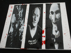 TOBIN BELL Signed SAW Original POP ART PAINTING Autograph JIGSAW