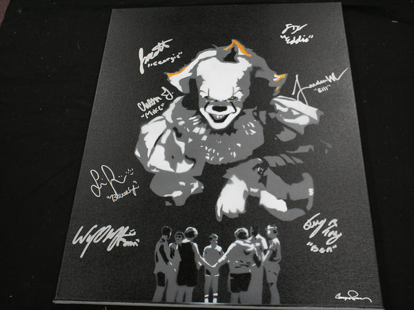 7X IT Kids Cast Signed 16x20 IT (2017) Original Painting Autograph Jackson Sophia Jaeden Chosen Jeremy Ray Wyatt Jack BECKETT BAS COA - HorrorAutographs.com