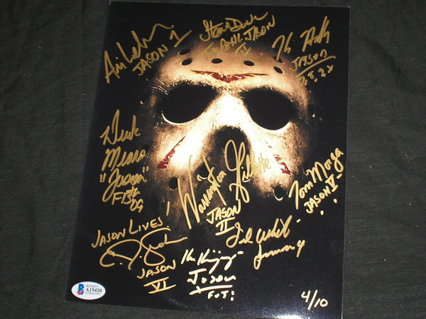 9X JASON VOORHEES Actors Signed 8x10 Photo Friday the 13th Kane Hodder Steve Dash + BAS COA #4/10 - HorrorAutographs.com