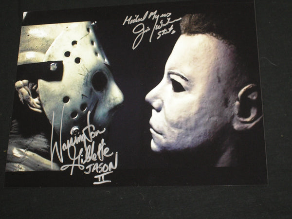 JIM WINBURN & WARRINGTON GILLETTE 2X Signed Jason Voorhees vs Michael Myers 10x13 Photo - HorrorAutographs.com