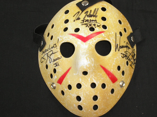 KANE HODDER CJ GRAHAM WARRINGTON GILLETTE 3X Signed Hockey MASK JASON VOORHEES Autograph Friday the 13th - HorrorAutographs.com