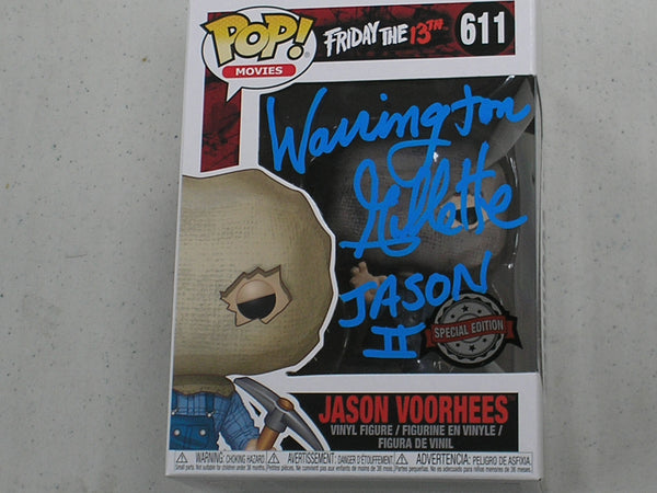 WARRINGTON GILLETTE Signed SPECIAL EDITION SACKHEAD JASON Voorhees FUNKO POP Figure Friday the 13th Part 2