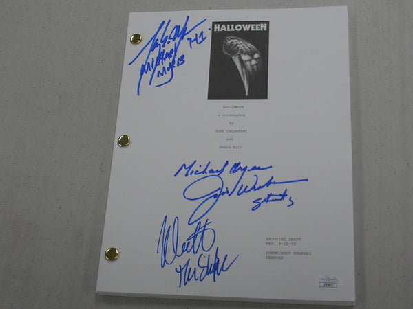 NICK CASTLE TONY MORAN & JIM WINBURN 3X Signed HALLOWEEN SCRIPT MICHAEL MYERS JSA COA
