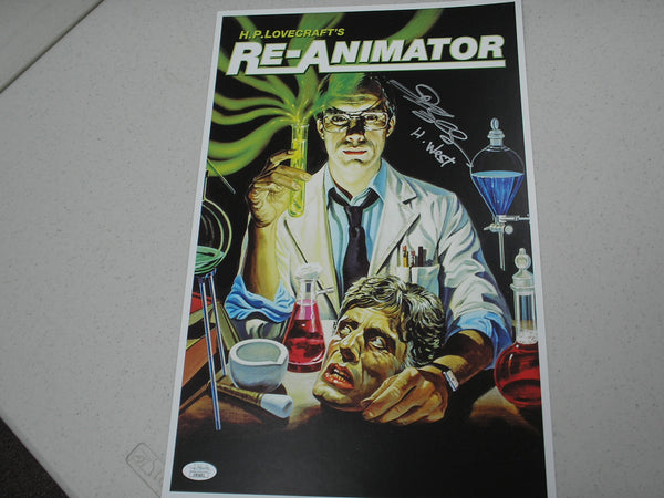 JEFFREY COMBS Signed Re-Animator 11x17 Movie Poster Herbert West JSA COA A