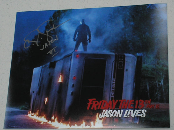 CJ GRAHAM Signed JASON VOORHEES 8X10 Photo Autograph FRIDAY the 13th PART 6 J
