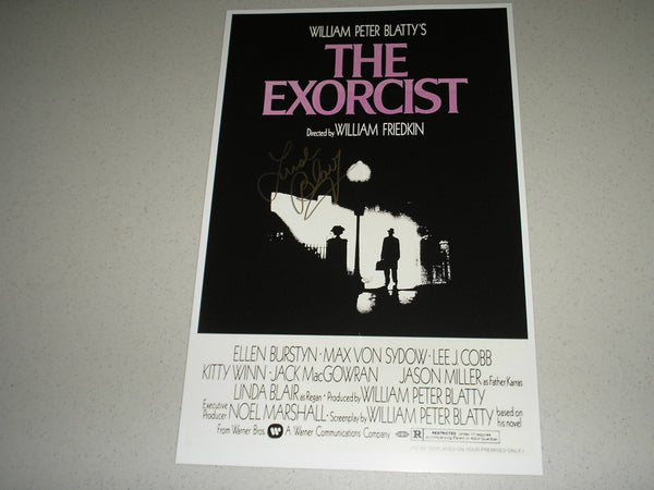 LINDA BLAIR Signed The EXORCIST 11x17 Movie POSTER Autograph HORROR COA A