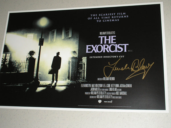 LINDA BLAIR Signed The EXORCIST 11x17 Movie POSTER Autograph HORROR COA B