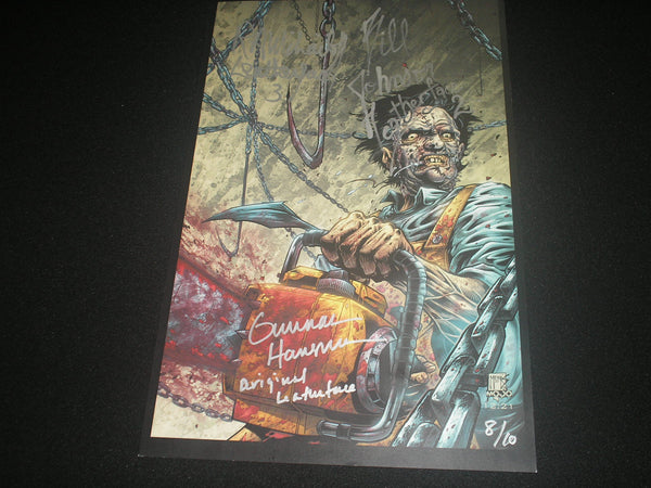 GUNNAR HANSEN + Leatherface Actors 3X Signed Texas Chainsaw Massacre Limited Edition Print # 8/10 - HorrorAutographs.com