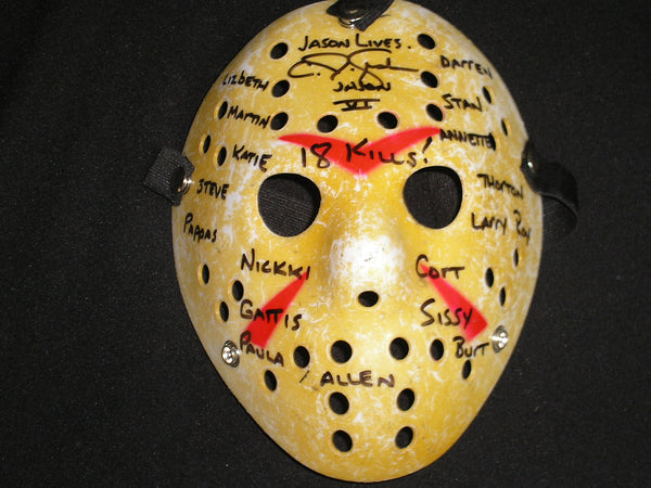 CJ GRAHAM Signed 18 KILL NAMES Hockey Mask Jason Voorhees Friday the 13th Part 6 VERY RARE - HorrorAutographs.com