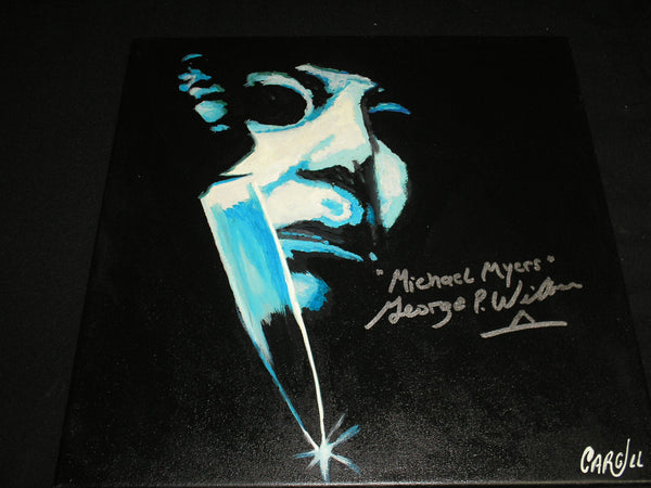 GEORGE WILBUR Signed Michael Myers ORIGINAL Art Painting Halloween Autograph A - HorrorAutographs.com