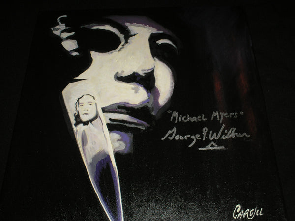 GEORGE WILBUR Signed Michael Myers ORIGINAL Art Painting Halloween Autograph C - HorrorAutographs.com