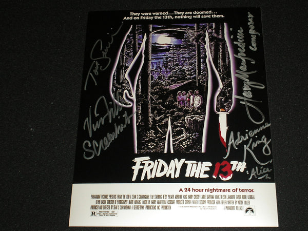 Victor MILLER Adrienne KING Tom SAVINI & Harry MANFREDINI 4x Cast Signed Friday the 13th 8x10 Photo - HorrorAutographs.com