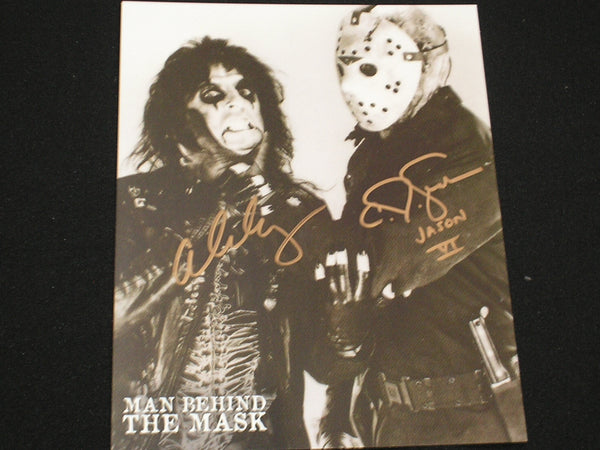 ALICE COOPER & CJ GRAHAM Dual Signed Man Behind the Mask 8X10 Photo Friday the 13th BECKETT BAS COA C