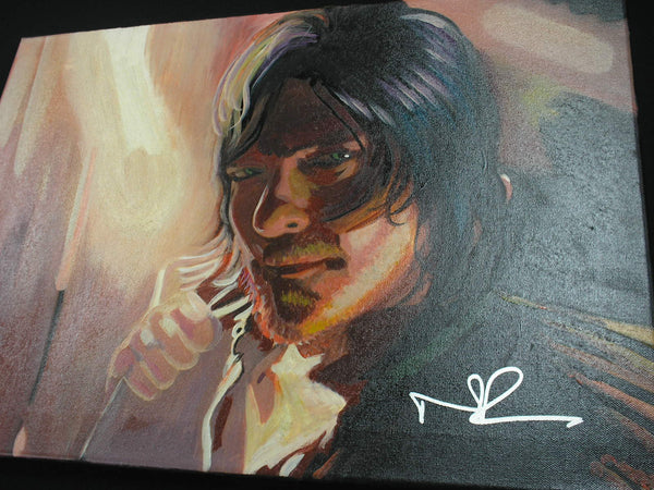 NORMAN REEDUS Signed Original Canvas Painting Daryl Dixon The Walking Dead RARE A - HorrorAutographs.com