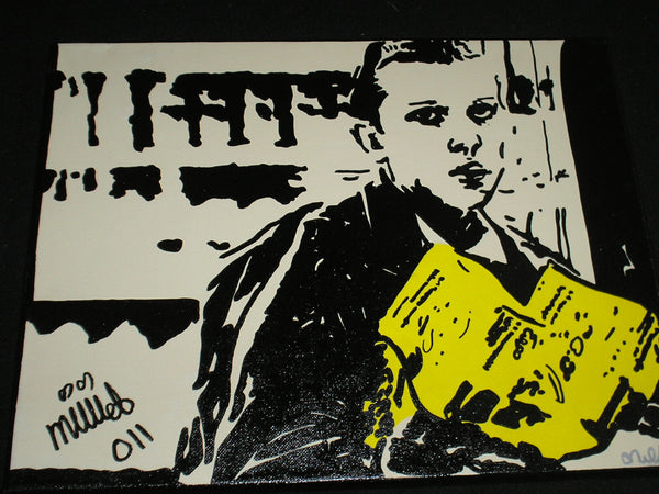 "MILLIE BOBBY BROWN Signed 11x14 Original Art Stranger Things ""11"" Autographed EGGOS"
