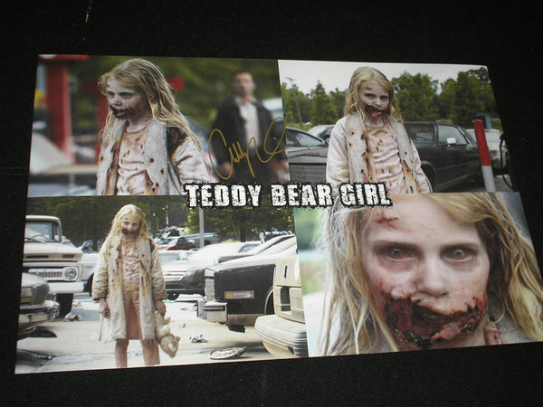 ADDY MILLER Signed 11x17 Custom Photo Summer Teddy Bear Girl The Walking Dead Autograph - HorrorAutographs.com