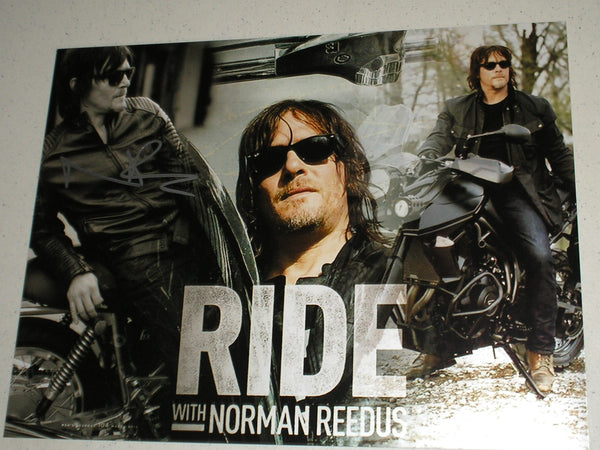 RIDE with NORMAN REEDUS Signed 11x14 Custom Metallic Photo Daryl Dixon Autographed #/10 - HorrorAutographs.com