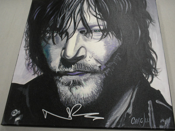 NORMAN REEDUS Signed Original Canvas Painting Daryl Dixon The Walking Dead RARE D - HorrorAutographs.com