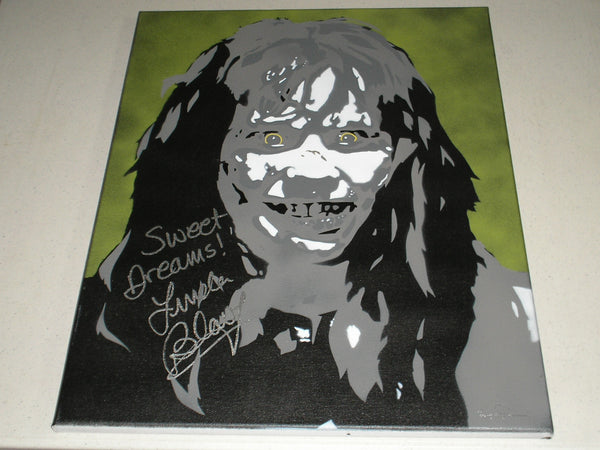 LINDA BLAIR Signed The Exorcist Original POP ART PAINTING Autograph Regan RARE - HorrorAutographs.com