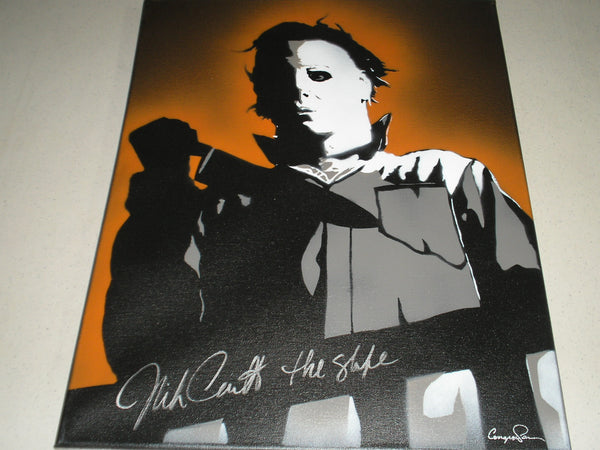 NICK CASTLE Signed Halloween Original POP ART PAINTING Autograph Michael Myers The Shape RARE