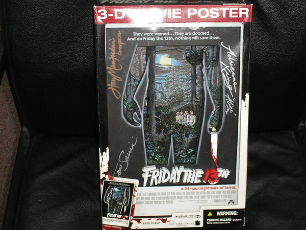 ADRIENNE KING TOM SAVINI & HARRY MANFREDINI 3x Cast Signed Friday the 13th 3D Wall Art Movie POSTER - HorrorAutographs.com