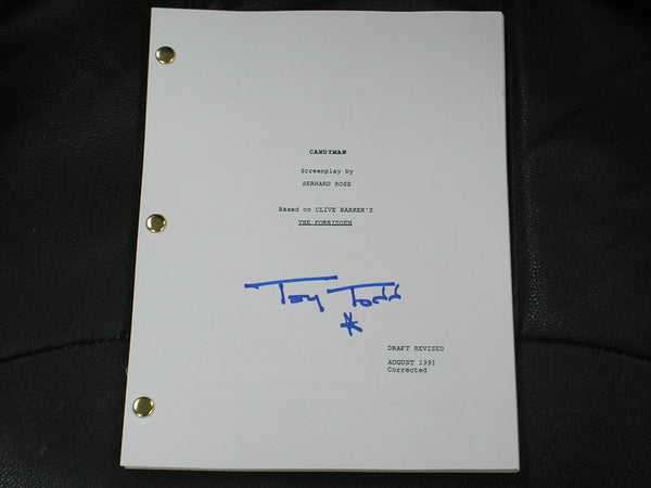 TONY TODD Signed CANDYMAN Movie Script Autograph Clive Barker Masterpiece