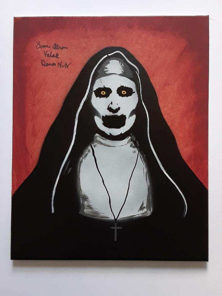 BONNIE AARONS Signed THE NUN Original POP ART PAINTING Autograph RARE - HorrorAutographs.com