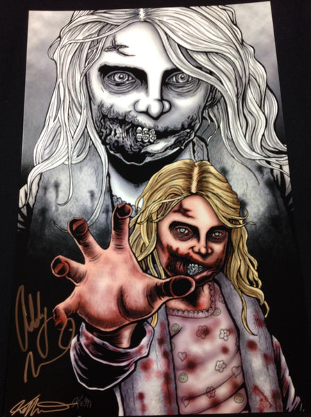 Addy Miller Signed Artist 11x17 Poster Print Teddy Bear Girl The Walking Dead #/100 - HorrorAutographs.com